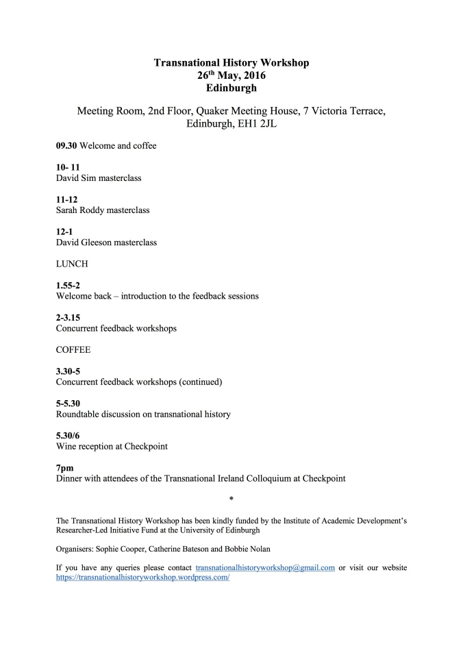 Transnational History Workshop Programme